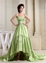 Show details for Light Olive Green High Low Prom Dresses,Prom Dresses With Trains Short In Front