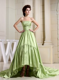 Light Olive Green High Low Prom Dresses,Prom Dresses With Trains Short In Front