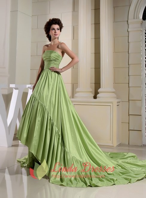 Light Olive Green High Low Prom Dressesprom Dresses With Trains