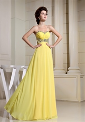 Yellow Chiffon Prom Dresses With Crystal Beading Around Waist,Yellow Strapless Prom Dress