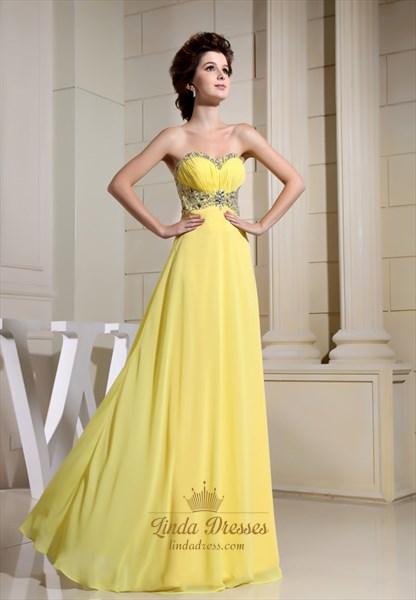 Yellow Chiffon Prom Dresses With Crystal Beading Around Waist,Yellow Strapless Prom Dress