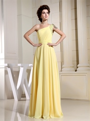 Canary Yellow Chiffon Bridesmaid Dress,One Shoulder Light Yellow Bridesmaid Dresses