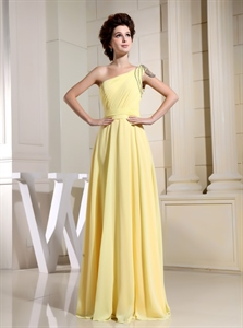 Canary Yellow Chiffon Bridesmaid Dress,One Shoulder Light Yellow Bridesmaid Dresses