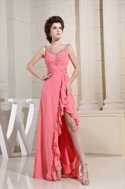 Hot Pink High Low Prom Dress,Short In The Front Long In The Back Dresses