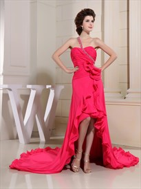Hot Pink High Low Dress,Hot Pink Chiffon Embellished One Shoulder Prom Dress