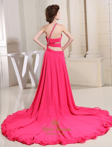 Hot Pink High Low Dress,Hot Pink Chiffon Embellished One Shoulder Prom Dress