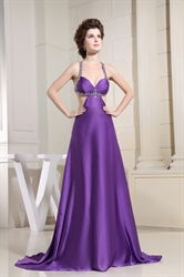 Purple Maxi Dress With Open Back Sides,Purple Open Back Prom Dresses
