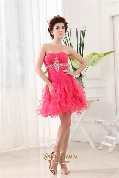 Hot Pink Cocktail Dresses Australia With Ruffles,Fuschia Cocktail Dress