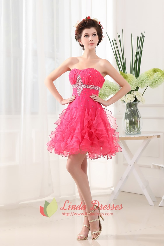 Hot Pink Cocktail Dresses Australia With Ruffles,Fuschia Cocktail ...