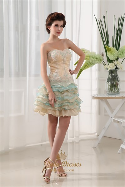 Champagne Cocktail Dress,Champagne And Blue Cocktail Dress