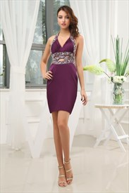 Dark Purple Cocktail Dress With Open Back,Purple Cocktail Dresses For Juniors Prom