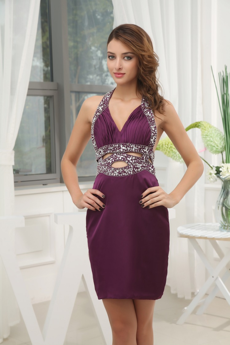 Dark Purple Cocktail Dress With Open Back,Purple Cocktail ...