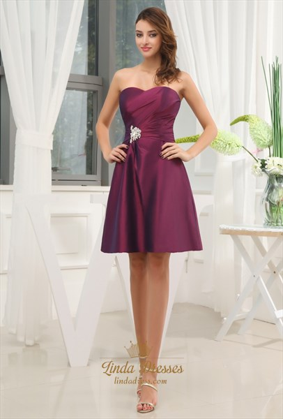 Dark Purple Bridesmaid Dresses Summer Wedding,Purple Cocktail Dresses For Weddings