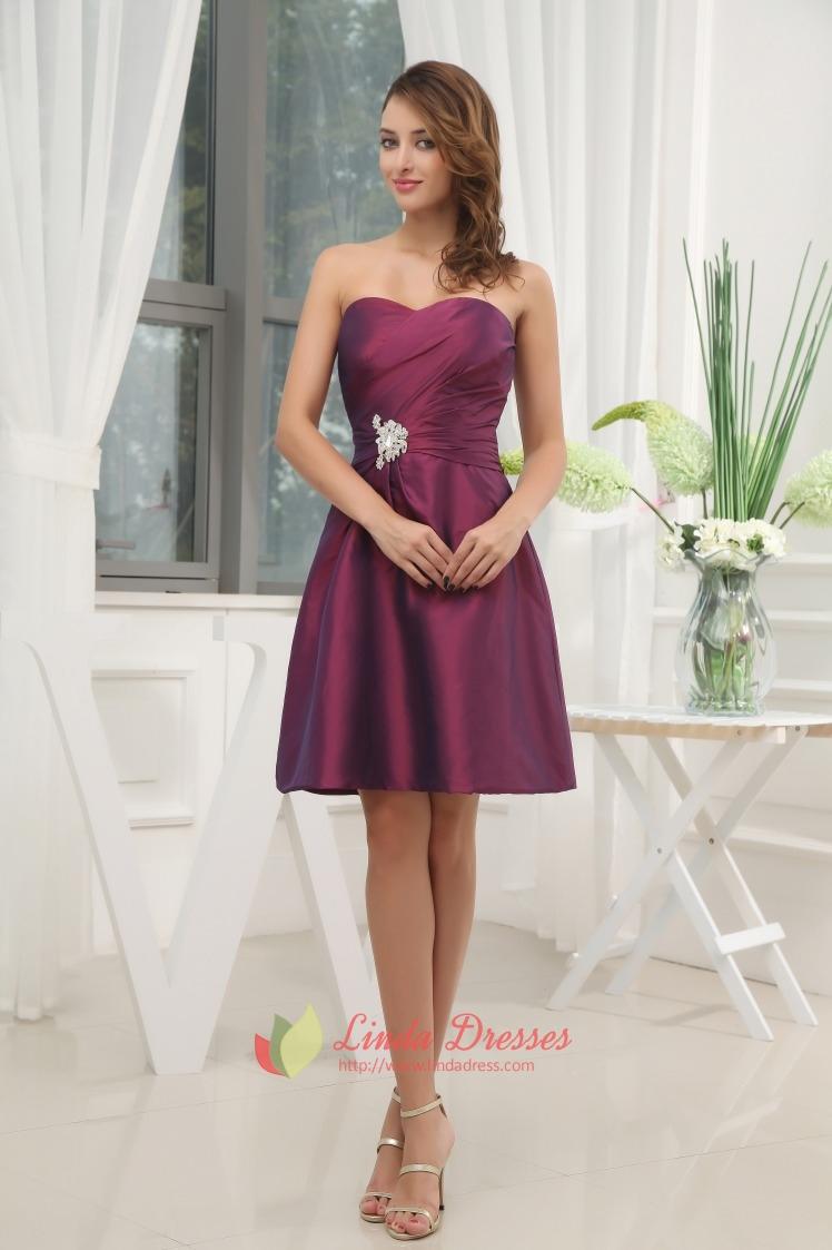Dark purple bridesmaid dresses summer wedding purple for Purple summer dresses for weddings