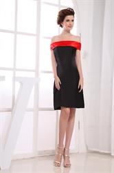 Black And Red Dresses For Juniors,Black Off Shoulder Red Neckline Skater Dress