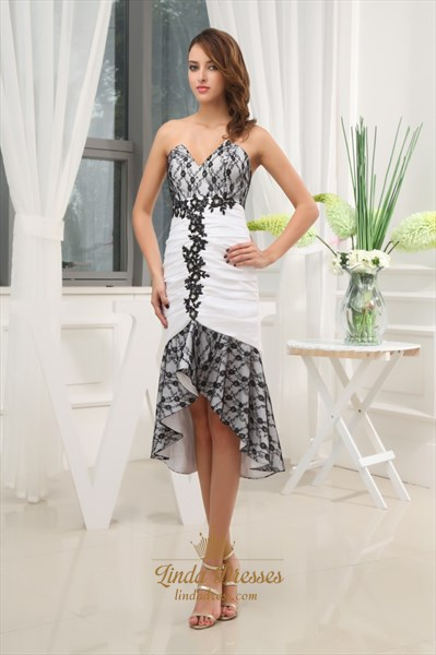 Front Short Back Long High Low Dress Casual,High Low Dresses With Lace Sheer Overlay