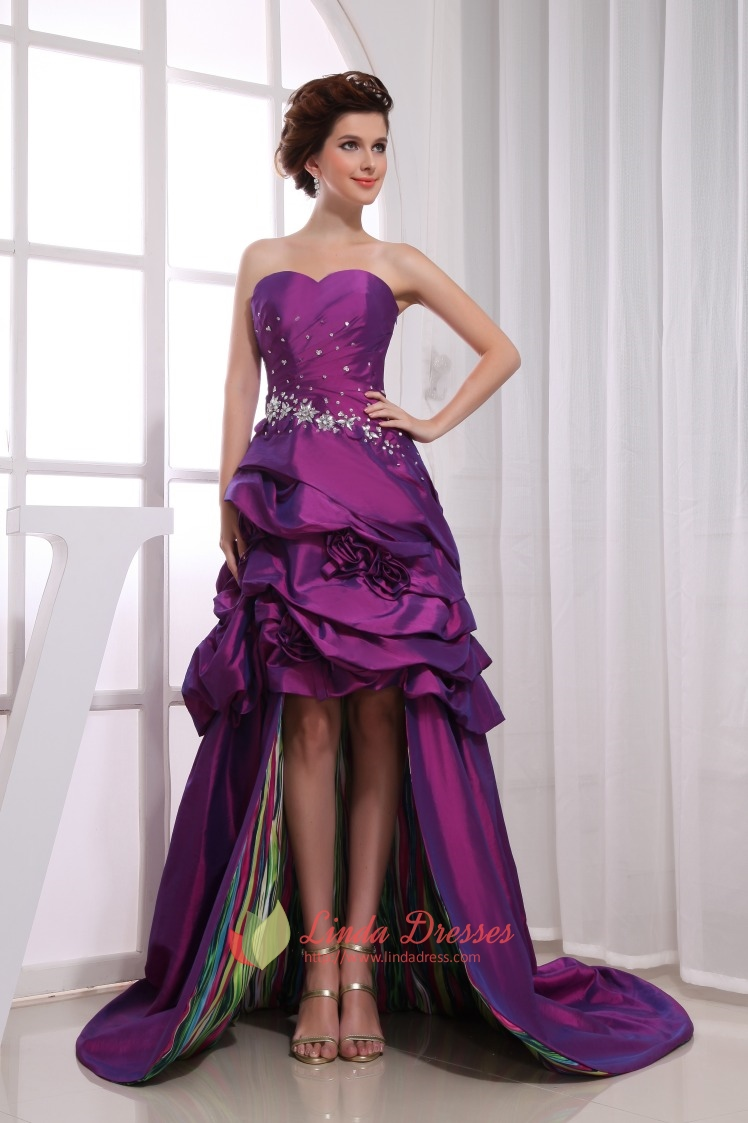 Purple High Low Prom Dresses,Purple High Low Ball Gowns Dress Casual ...