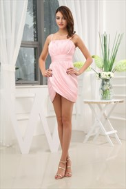 Light Pink Dresses For Women,Short Light Pink Dresses With Asymmetrical Hemline For Juniors