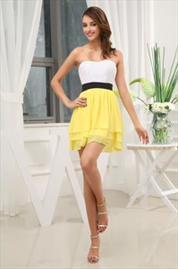 White And Yellow Dress,White Top Yellow Bottom Dress For Teenagers Girls