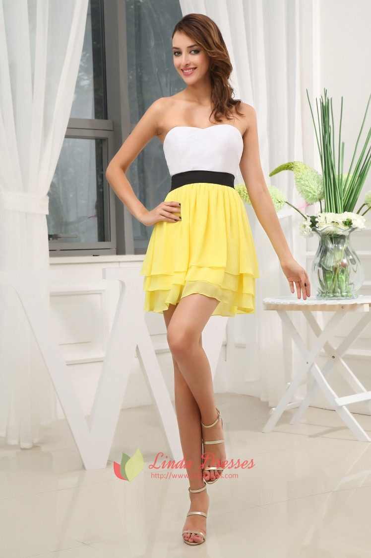 Fashion style White and yellow sundress for girls