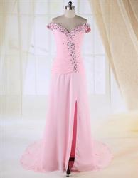 Off The Shoulder Prom Dress, Chiffon A-Line Floor-Length Evening Dress