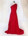 Show details for Red One Shoulder Applique Ruching Long Empire Waist Chiffon Prom Dress