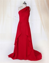 Red One Shoulder Applique Ruching Long Empire Waist Chiffon Prom Dress