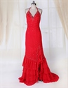 Show details for Chiffon Red V-Neck Beaded Halter Ruffle Prom Gown Side Split Open Back