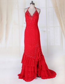 Chiffon Red V-Neck Beaded Halter Ruffle Prom Gown Side Split Open Back