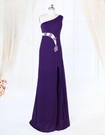 One Shoulder Purple Evening Dress, Chiffon Floor-Length Evening Dress
