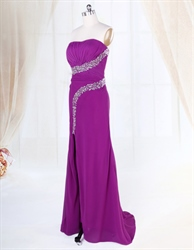 Violet Purple Prom Dress, Strapless Applique Beaded Chiffon Prom Dress