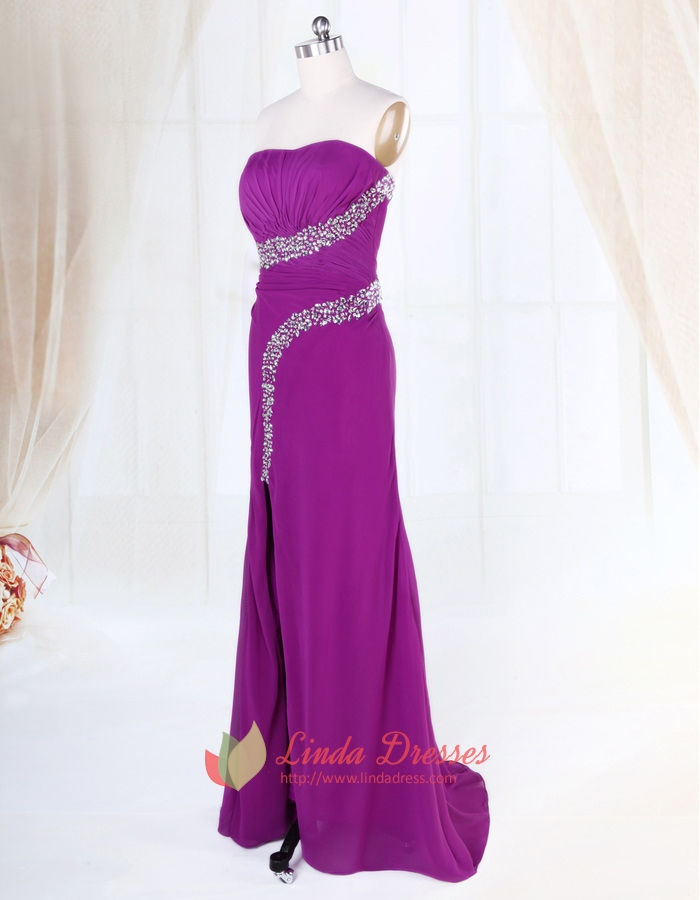 Violet Purple Prom Dress, Strapless Applique Beaded Chiffon Prom ...