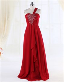 Red Empire Waist A-Line One Shoulder Floor-Length Chiffon Evening Gown