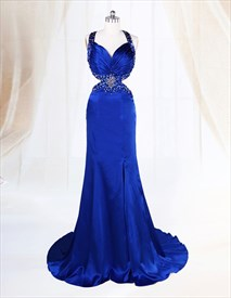 Open Back Side Cut Out Front Slit Beaded Sapphire Blue Evening Dresses