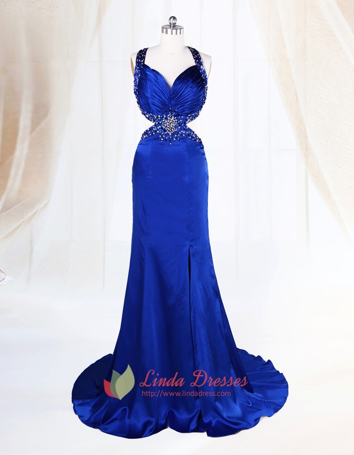5ce4f7efa45 Open Back Side Cut Out Front Slit Beaded Sapphire Blue Evening Dresses