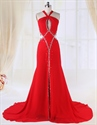 Show details for Red Side Cut Out Prom Dress, Chiffon A-Line Floor-Length Evening Dress