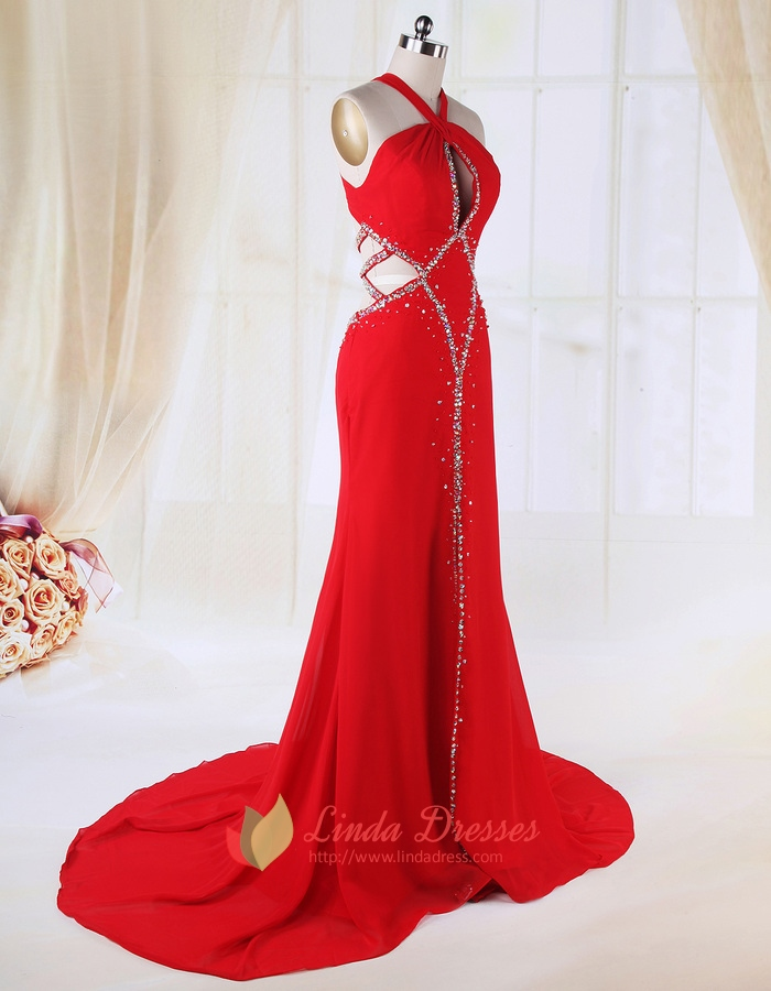 25bd54cf4e Red Side Cut Out Prom Dress, Chiffon A-Line Floor-Length Evening Dress SKU  -FD190