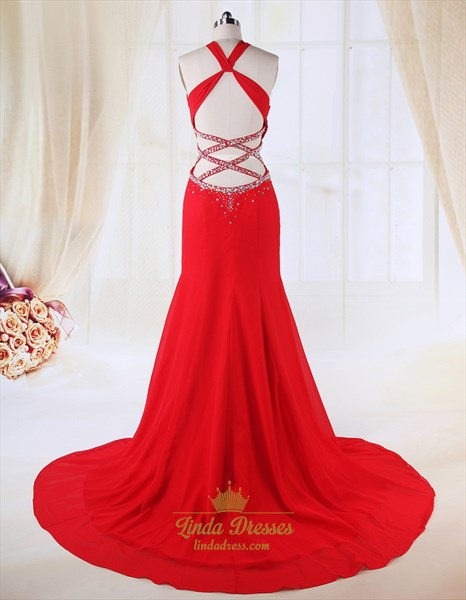 Red Side Cut Out Prom Dress, Chiffon A-Line Floor-Length Evening Dress