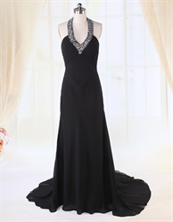 Long Black Chiffon Evening Dress, Empire Waist Halter Prom Dress