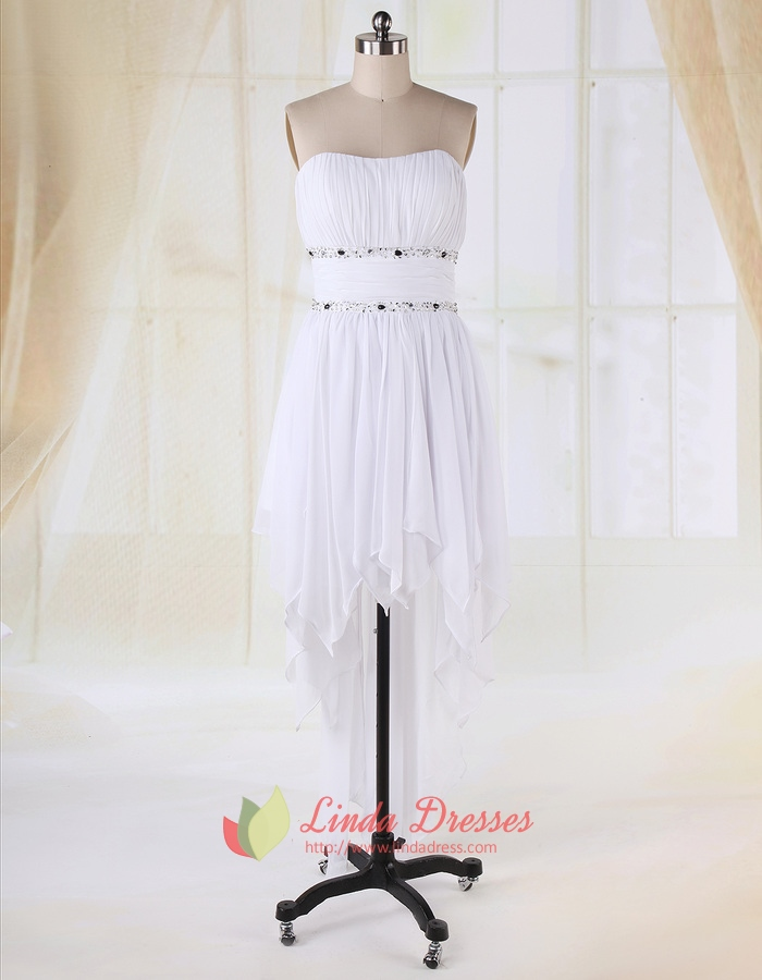 Strapless Dress With Cascading Ruffle Skirt,High Low Ruffle Prom Dress
