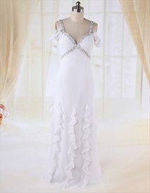 V-Neck Beaded Waist Princess Dress, White Chiffon Empire Waist Dress