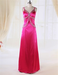 A-Line Floor Length Prom Dresses, V-Neck Beaded Waist Princess Dress