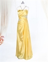 Show details for Yellow Halter Prom Dresses, Pleated Charmeuse Dress With Beaded Bodice