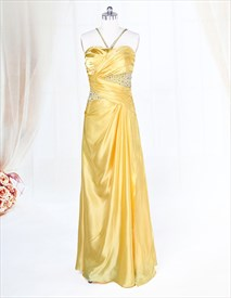 Yellow Halter Prom Dresses, Pleated Charmeuse Dress With Beaded Bodice