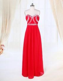 Long Red Chiffon Prom Dress, Chiffon A-Line Floor-Length Evening Dress