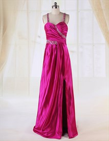 Long Evening Dress With Slits, Elegant Floor Length Beaded Gown