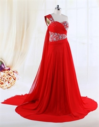 Red Beaded Gown A-Line One Shoulder Floor-Length Chiffon Evening Dress