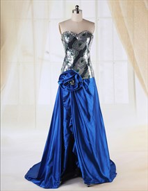 Strapless Sweetheart Sequin Prom Dress, Floor Length Dress With Split