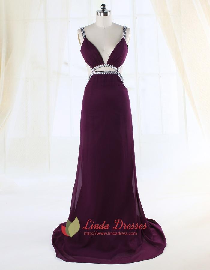 Side Cut Out Prom Dresses, Column V-Neck Floor-Length Evening Dress ...