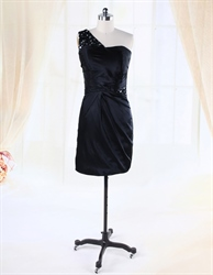 Short One Shoulder Little Black Dress, Black One Shoulder Drape Dress